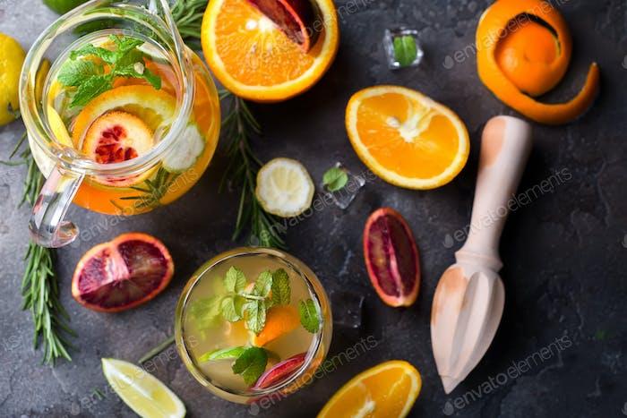 lemonade with red blood orange,