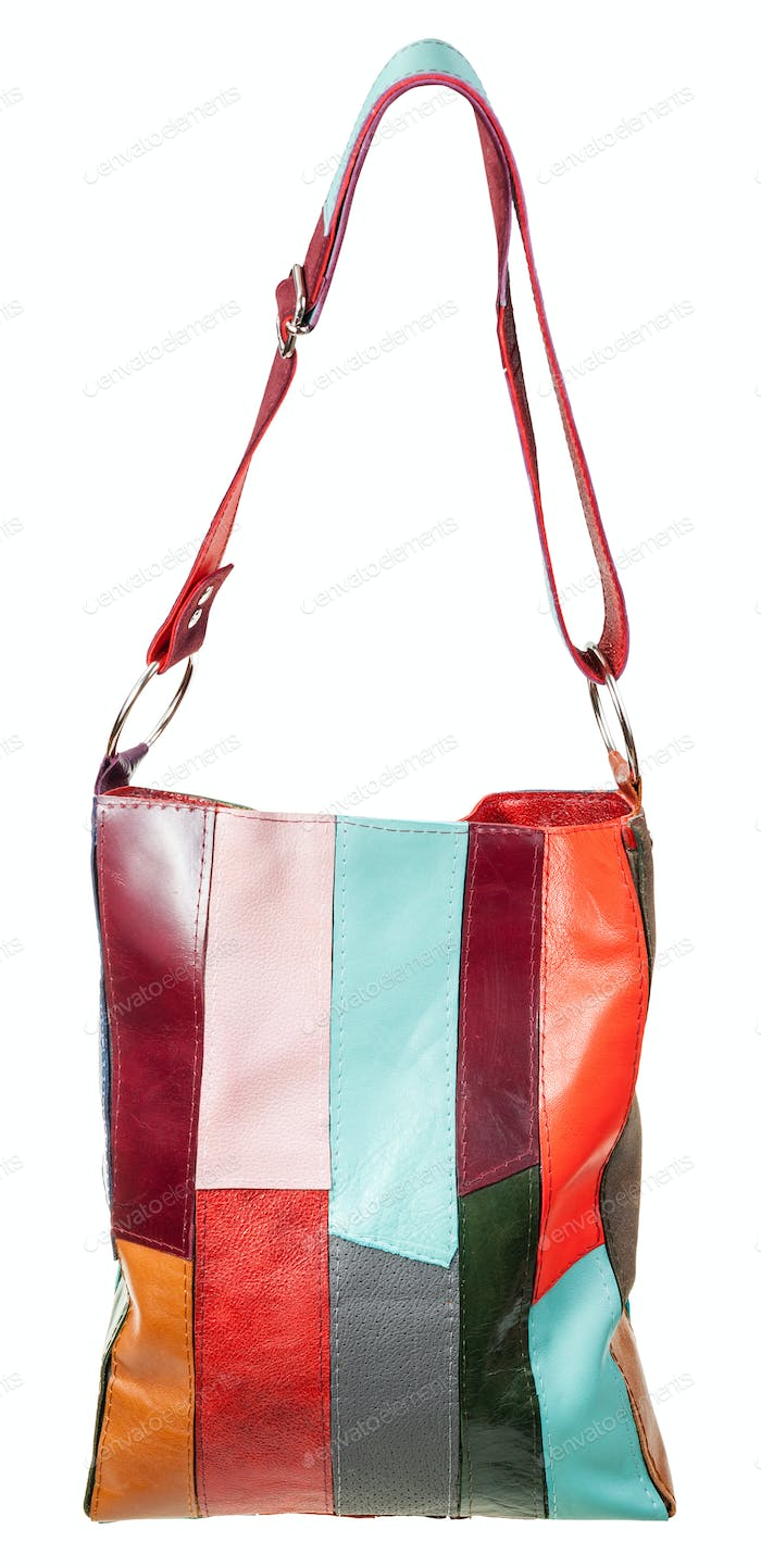 shoulder bag from multicolored leather pieces
