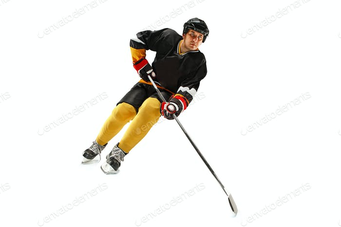 Ice hockey player in action isolated on white.