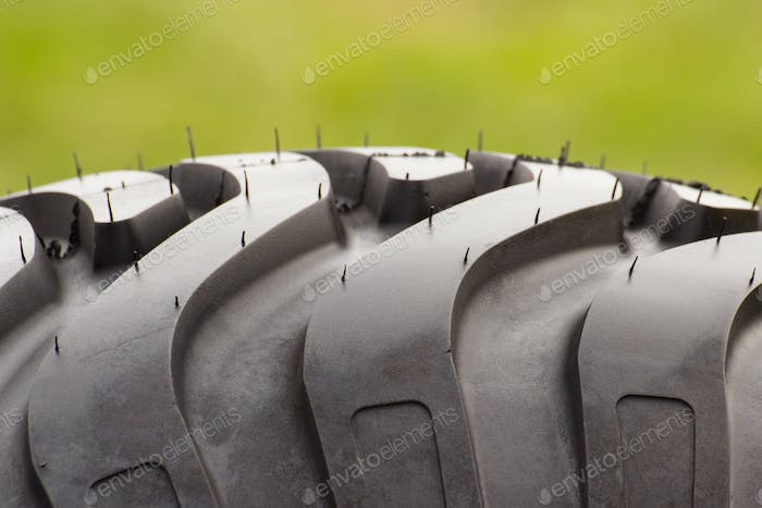 Pattern of black tyre of vehicle or agricultural machine, technology