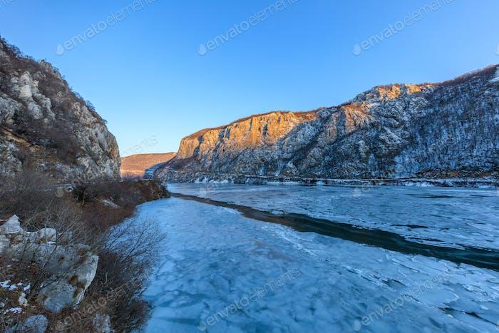 Danube Gorges in winter. Romania