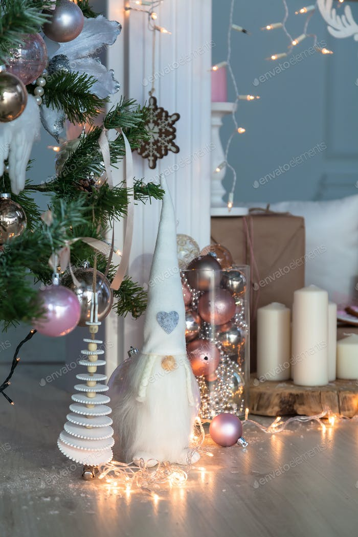 Christmas Decorations with Gingerbread man, candles, dwafr and  baubles