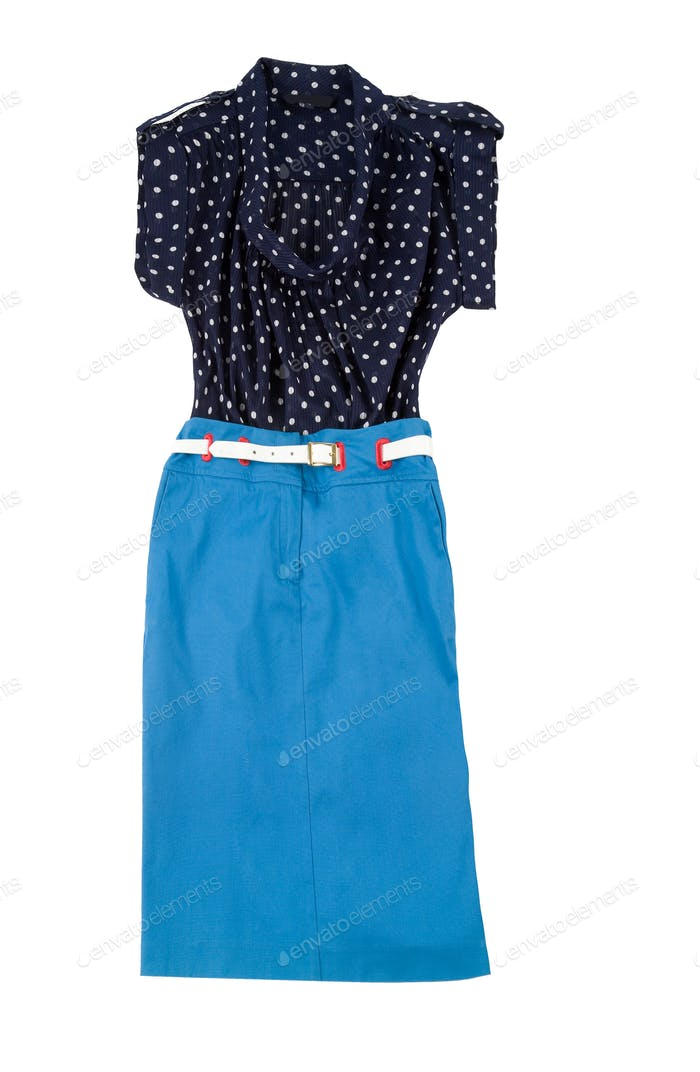Fashion composition with blue tube skirt and polka dots blouse