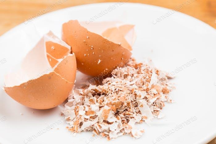 Crushed egg shells on plate