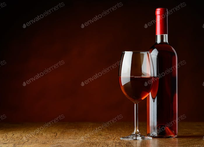 Rose Wine on Wooden Table