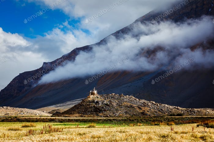Small gompa in Spiti Valley in Himalayas