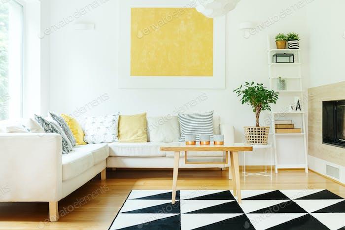 Beige sofa in warm interior