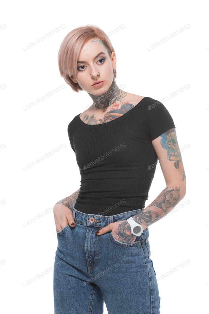 attractive tattooed girl in casual clothes, isolated on white