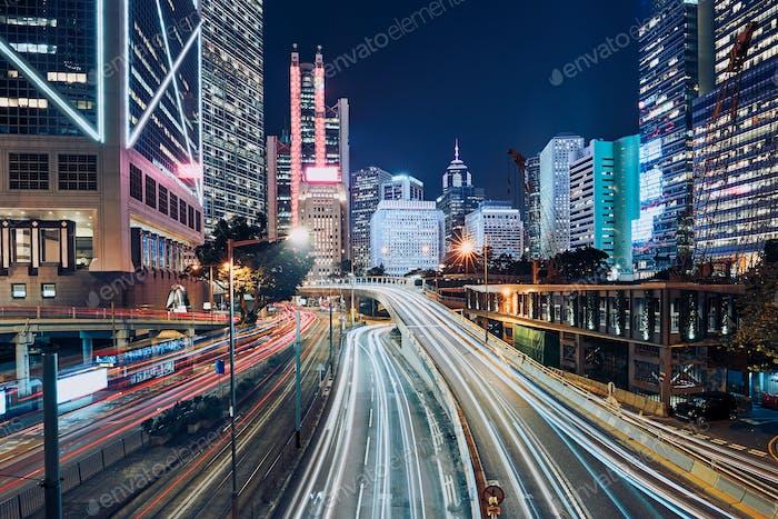 Busy traffic in modern city