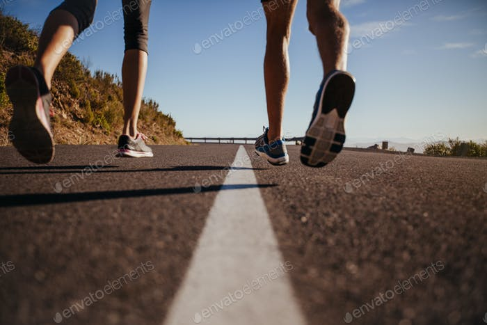 Runners running on the road