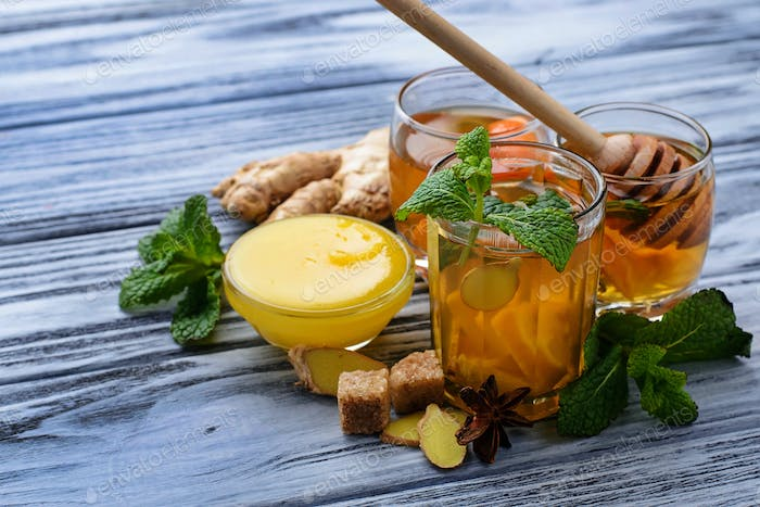 Drink with mint, lemon, honey and ginger