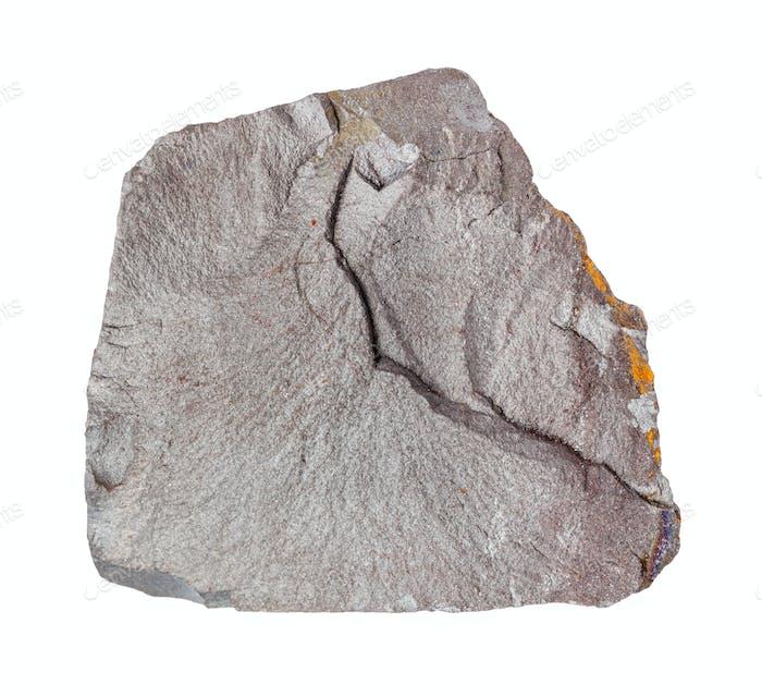 rohen grauen Hämatit (Eisenerz) Gestein isoliert auf weiß