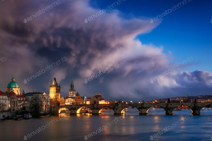 Storm over Charles bridge, Prague, Czech republic