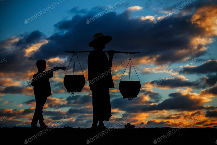 rural life at sunset