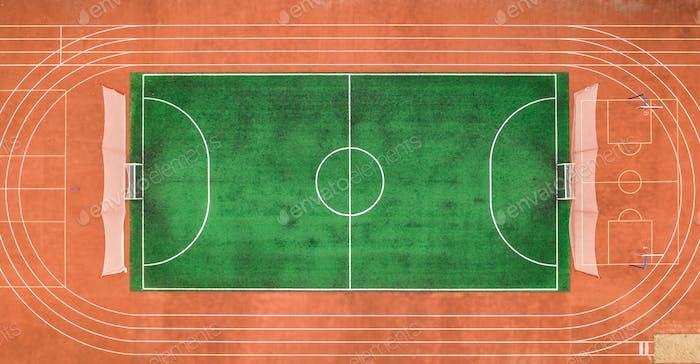 Aerial view of small stadium