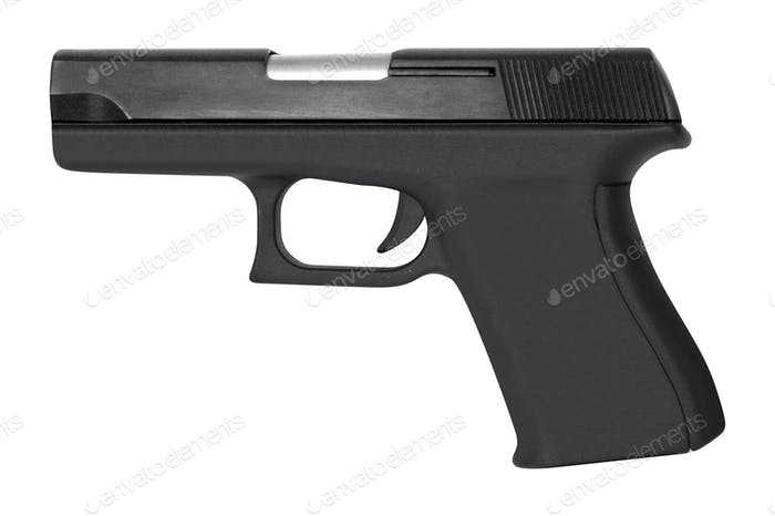 automatic pistol gun firearm for sport or personal protection or defense isolated