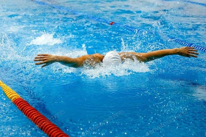 front view swimmer swim butterfly stroke