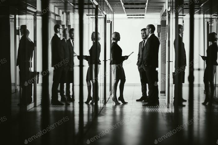 Colleagues in corridor