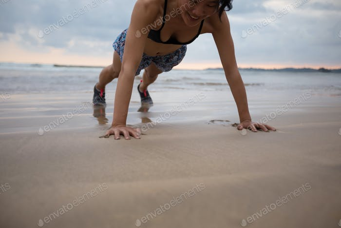 Push up on beach