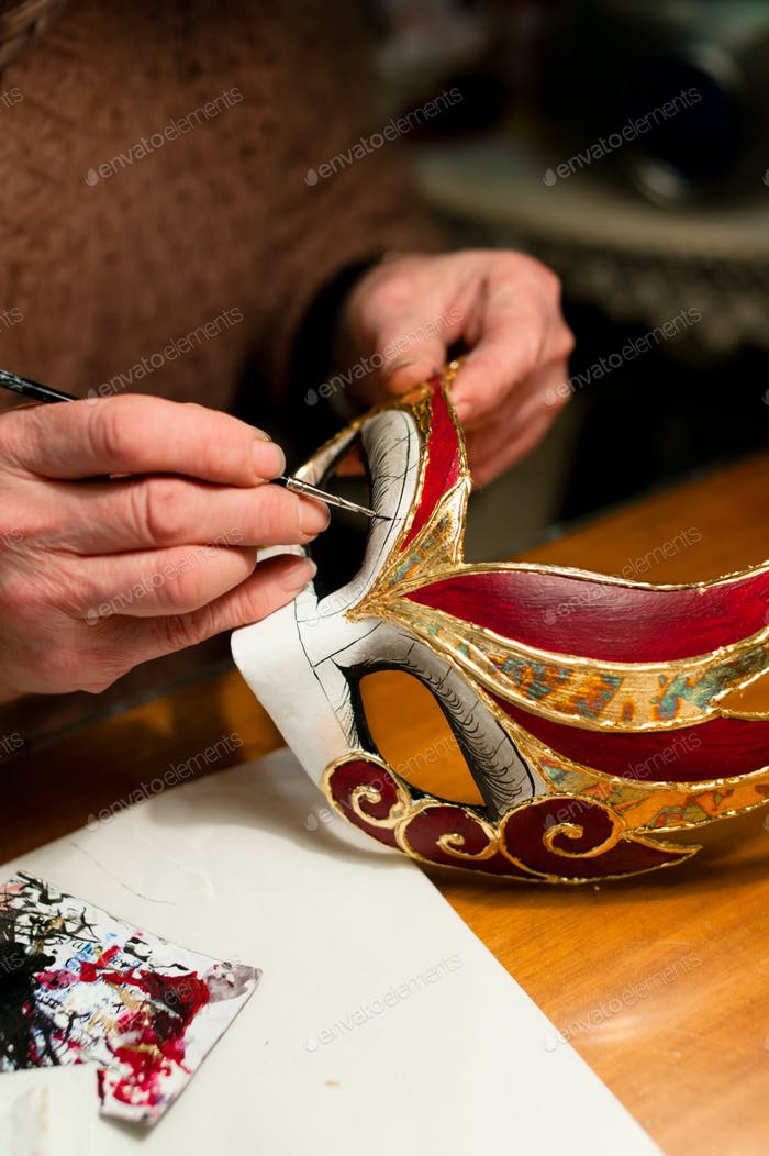 Making of venice carnival mask