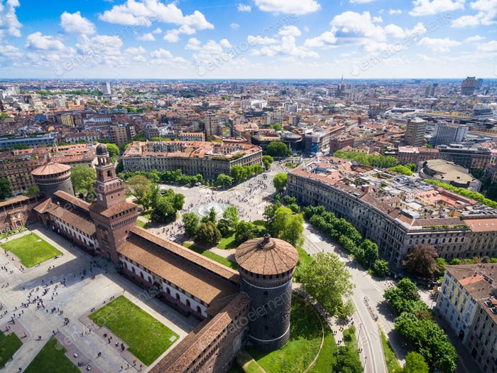 Aerial photography view of Sforza castello castle in  Milan city