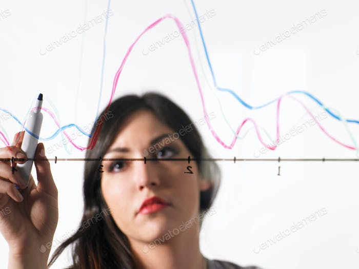 A young woman drawing coloured graph lines across a graph illustration, on a see through surface.