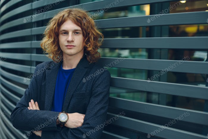 Fashionable man portrait over urban futuristic background