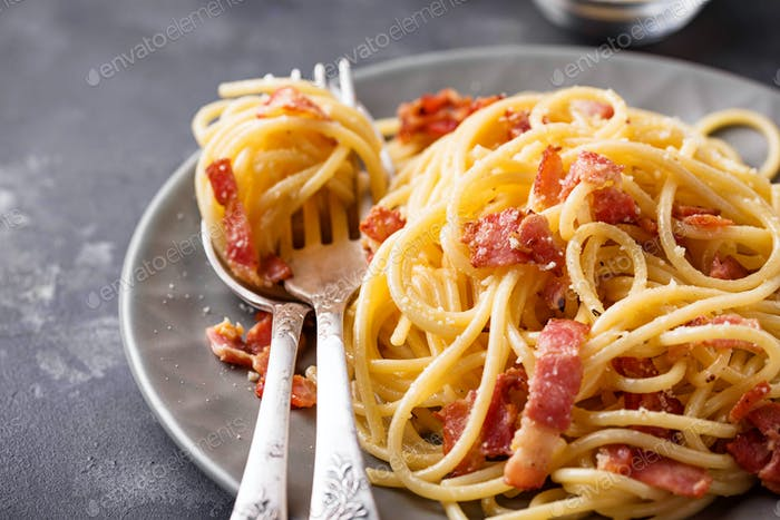 Pasta Carbonara with bacon and parmesan