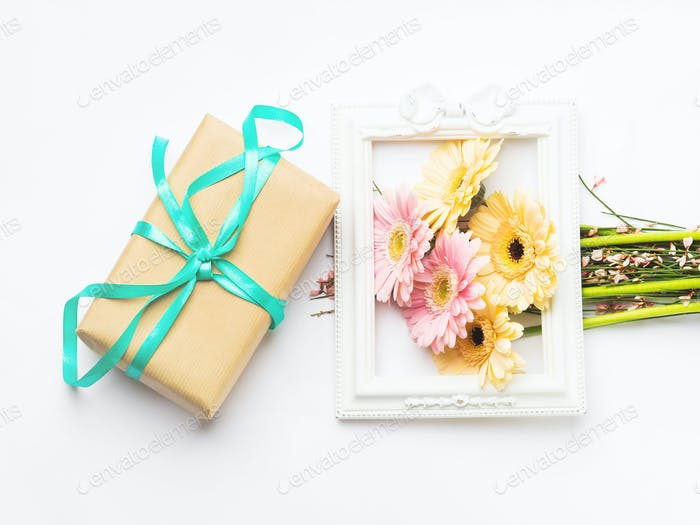 Beautiful gerbera bouquet in frame and gift box