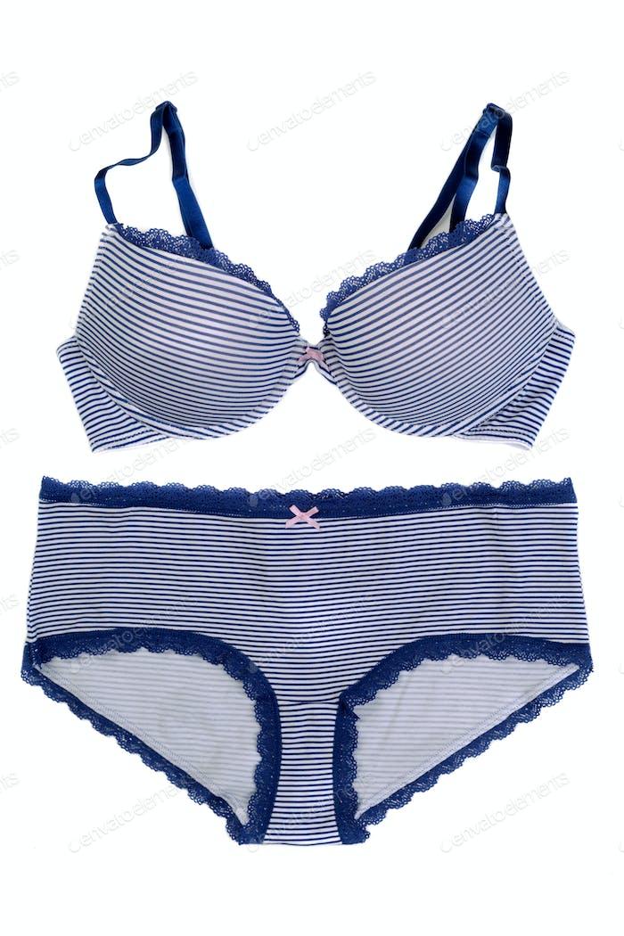 Blue striped underwear set.