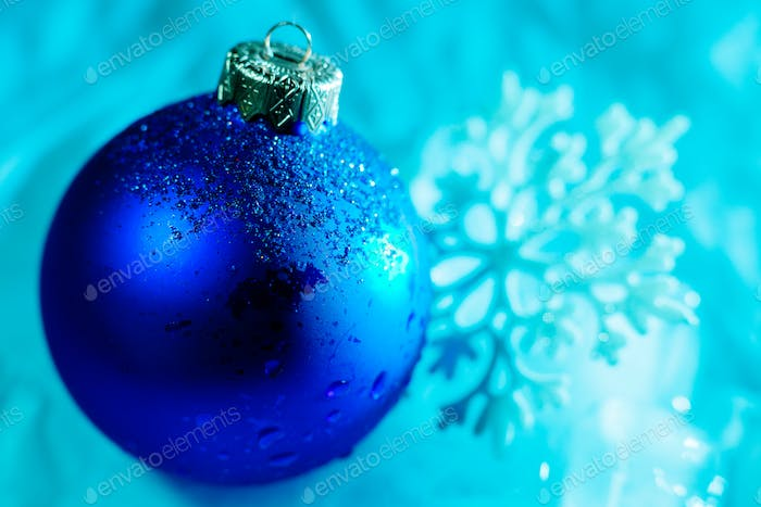 frozen ice ball decoration with snowflake close up