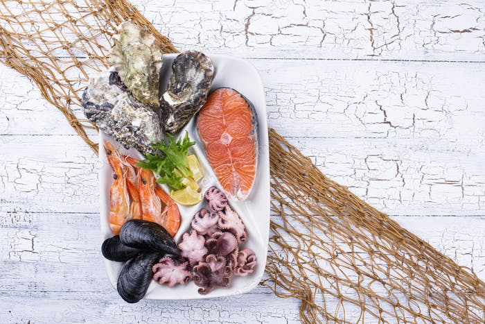 Set of various seafood in plate