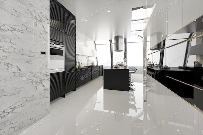 3D Rendering moderne schwarze Küche mit modernen Holz gebaut in
