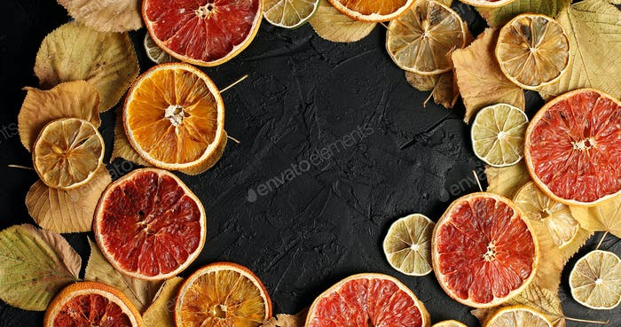 Dried slices of citrus fruit and leave