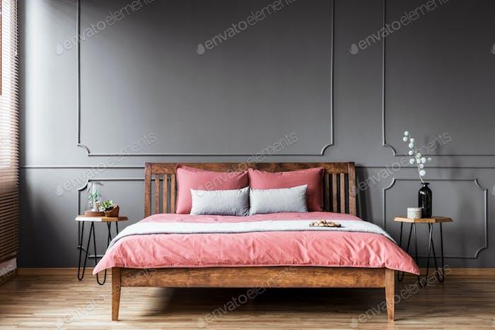Rustic pink and grey bedroom