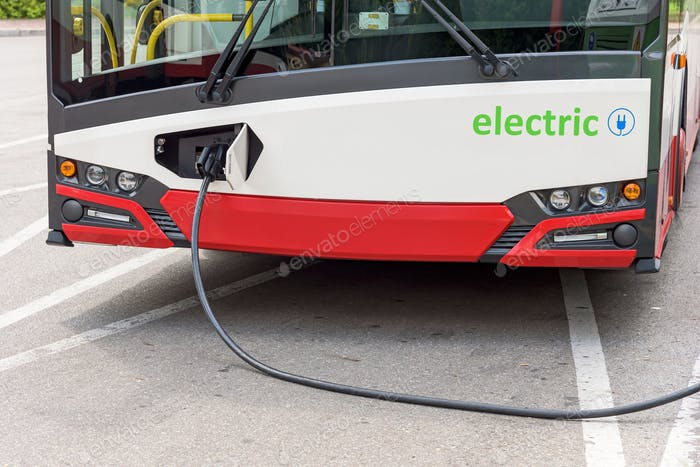 Electric bus at the charging station