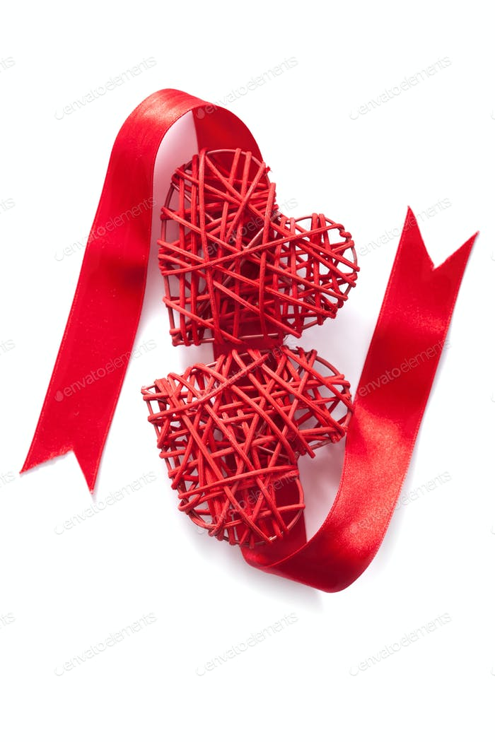 red hearts ribbon Valentines isolated