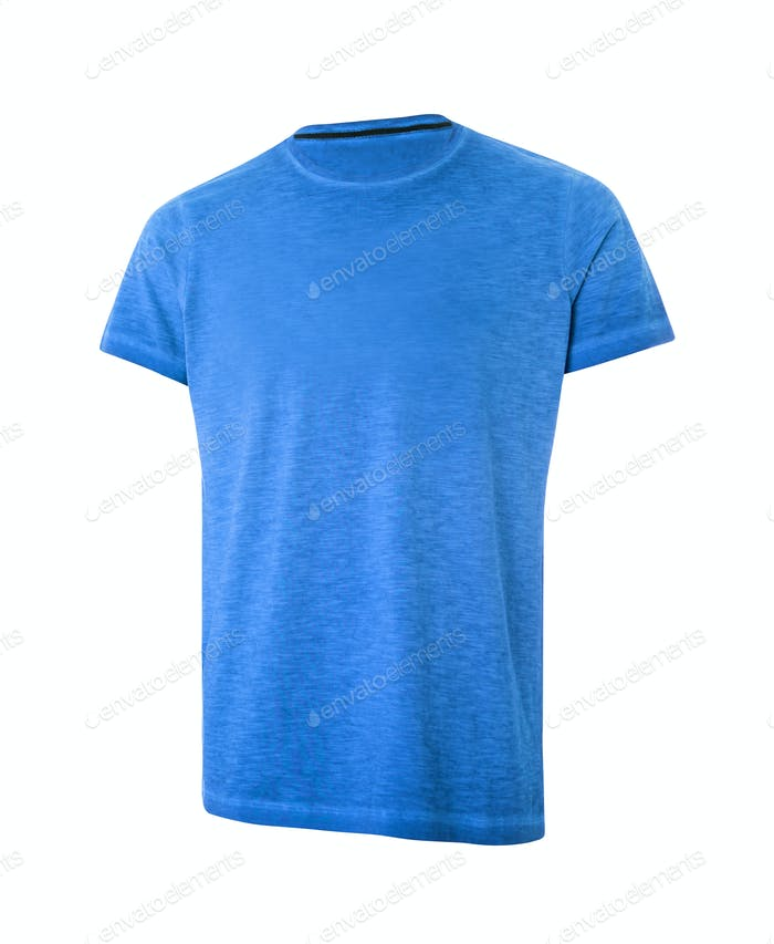 Blue Short Sleeve T-Shirt Isolated On White