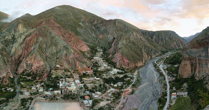 View of Iruya village and multicolored mountains