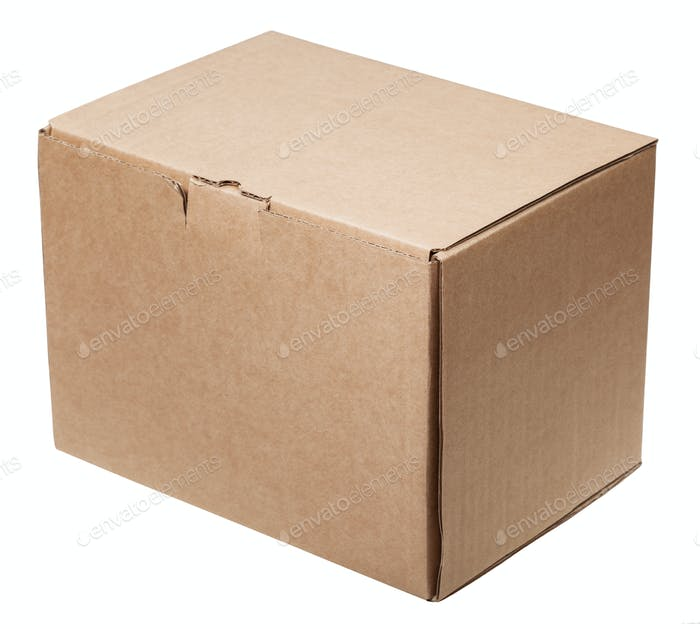 closed cardboard container isolated on white