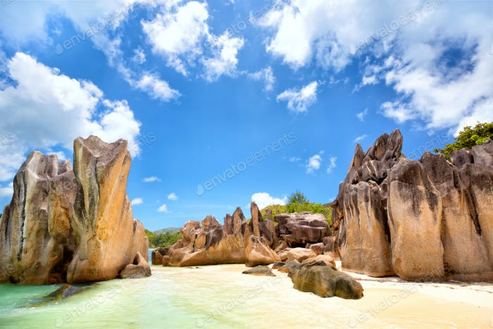 Rock's beach in Seychelles