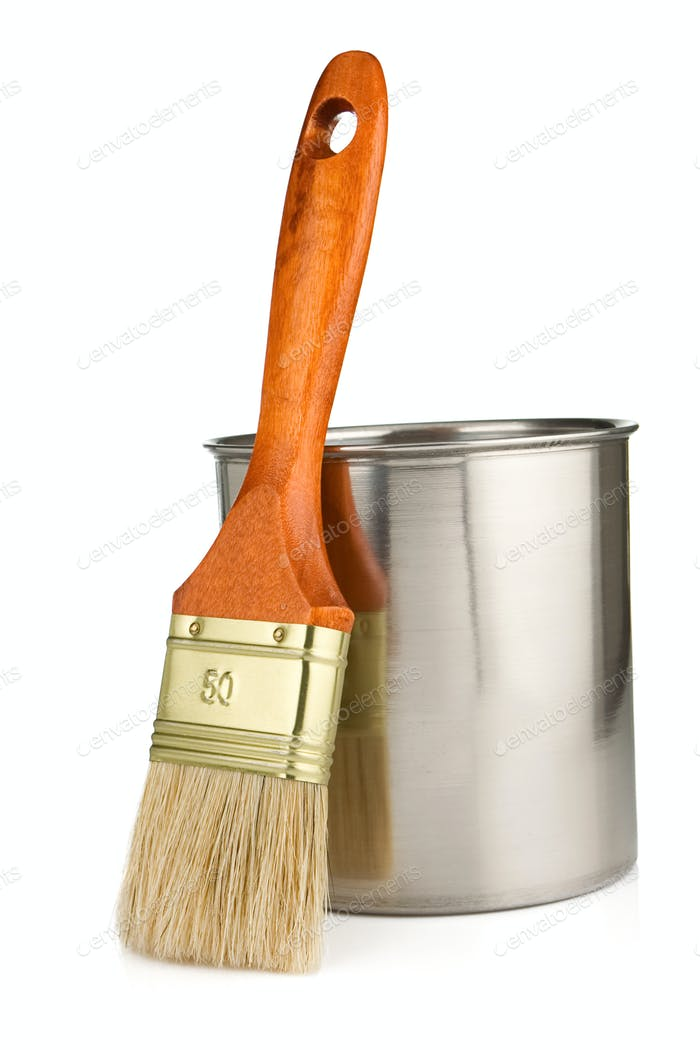 paint bucket and paintbrush isolated on white
