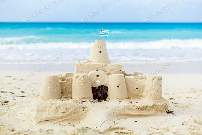 Cuban Sandcastle with the country Flag in Cuba