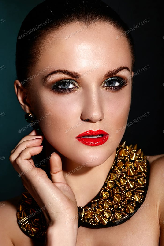 Portrait of hot woman with evening makeup