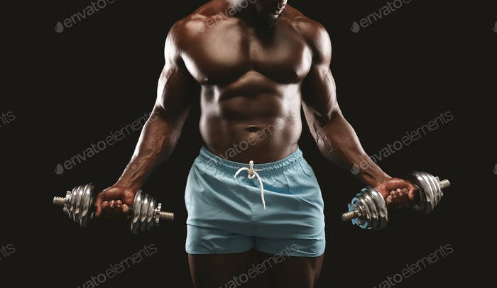 Workout with dumbbells, african athlete holding barbells