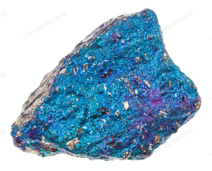 piece of blue Chalcopyrite stone isolated