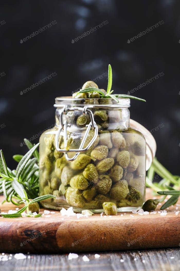 Salted capers in vinegar