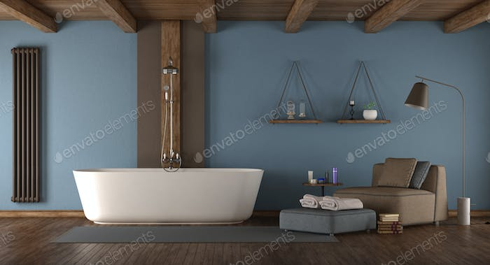 Blue modern bathroom with bathtub