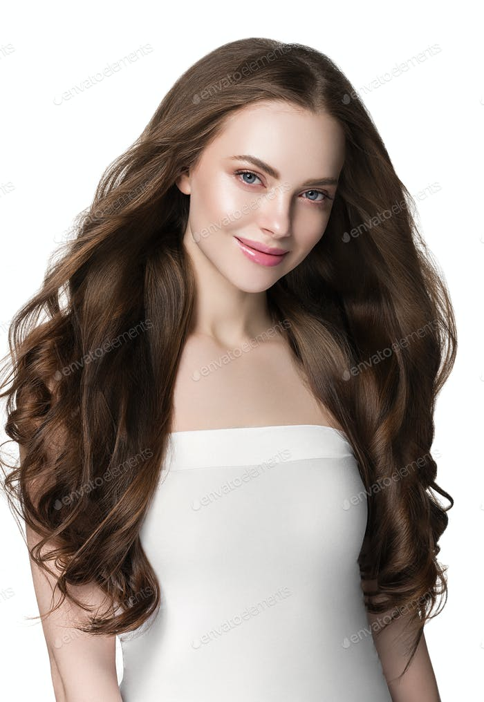 Beautiful hair and skin woman face model beauty concept cosmetic