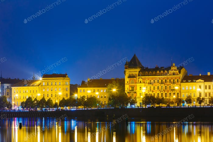 Night View Of Prague  Embankment, Czech Republic. Reflection In